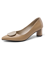cheap -Women's Heels Chunky Heel Pointed Toe PU Minimalism Spring & Summer Yellow / Black / Beige / Party & Evening