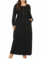 cheap -Women's Plus Size Maxi A Line Dress - Long Sleeve Solid Color Patchwork Fall & Winter Basic Daily Loose Wine Black Army Green Navy Blue XL XXL XXXL XXXXL XXXXXL