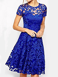 cheap -Women's Plus Size Red Blue Dress Elegant Going out A Line Floral Solid Colored Lace S M