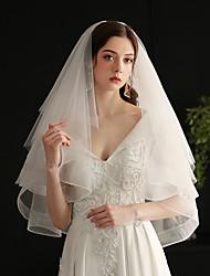 cheap -Three-tier Sweet Wedding Veil Elbow Veils with Fringe Tulle / Drop Veil