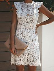 cheap -Women's Sheath Dress - Short Sleeves Solid Color Crew Neck White S M L XL