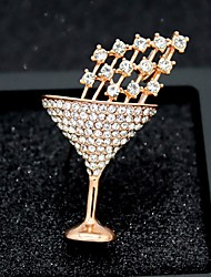 cheap -Women's Cubic Zirconia Brooches Classic Goblet Stylish Simple Classic Brooch Jewelry Gold Silver For Party Gift Daily Work Festival