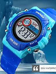 cheap -SKMEI Smartwatch Digital Modern Style Sporty Silicone 30 m Water Resistant / Waterproof LCD Casual Watch Digital Casual Fashion - Black Light Blue White / Blue
