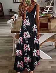 cheap -Women's Plus Size Sheath Dress - Sleeveless Floral Print Print Strap Sexy Street chic Daily Going out Black Blue Blushing Pink Light Green S M L XL XXL XXXL XXXXL XXXXXL