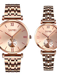 cheap -SKMEI Steel Band Watches Classic Fashion Silver Rose Gold Stainless Steel Chinese Quartz Gold Silver Water Resistant / Waterproof Casual Watch Cool 30 m 2 Piece Analog One Year Battery Life
