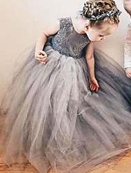 cheap -A-Line Sweep / Brush Train Wedding Flower Girl Dresses - Satin / Taffeta / Tulle Sleeveless Jewel Neck with Bow(s) / Tier / Solid