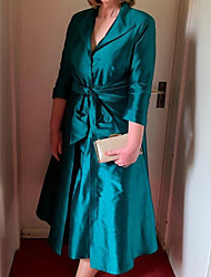 cheap -A-Line Mother of the Bride Dress Elegant Queen Anne Ankle Length Satin 3/4 Length Sleeve with Sash / Ribbon 2020