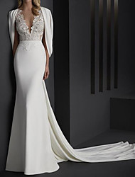 cheap -Mermaid / Trumpet Wedding Dresses V Neck Sweep / Brush Train Stretch Satin Sleeveless Country Plus Size with Lace Embroidery 2020