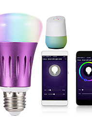 Недорогие -1шт 12 W Круглые LED лампы Умная LED лампа 700 lm E14 B22 E26 / E27 20 Светодиодные бусины Контроль APP Smart синхронизация Multi-цветы 85-265 V