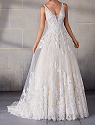 cheap -A-Line Spaghetti Strap Sweep / Brush Train Lace / Tulle Sleeveless Country Plus Size Wedding Dresses with Lace Insert / Appliques 2020