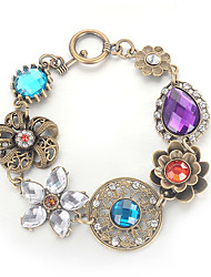 cheap -Men's Women's Crystal Crystal Bracelet Classic Flower Vintage Sweet Rhinestone Bracelet Jewelry Rainbow For Party Daily