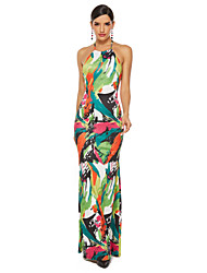 cheap -Women's Rainbow Dress Sexy Party Bodycon Floral Puff Sleeve Blue & White Backless S M