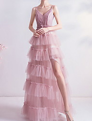 cheap -A-Line Beautiful Back Pink Engagement Prom Dress Spaghetti Strap Sleeveless Floor Length Polyester with Split Tier 2020