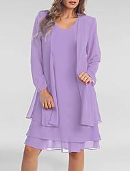 cheap -Women's Plus Size Two Piece Dress - Long Sleeve Solid Colored Summer Spring & Summer Casual Belt Not Included 2020 Purple S M L XL XXL XXXL XXXXL XXXXXL