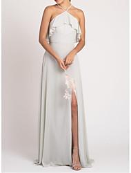 cheap -Sheath / Column Halter Neck Floor Length Chiffon Bridesmaid Dress with Pleats / Ruffles / Side Draping