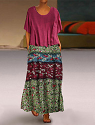 cheap -Women's Plus Size Maxi Swing Dress - Short Sleeves Geometric Print Print Basic Casual Boho Daily Loose Blue Red Green M L XL XXL XXXL XXXXL XXXXXL