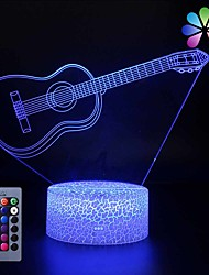 cheap -Creative Cute 3D Night Light Electric Guitar  USB 16 Colors Change Baby Room Bed Lights Kids Room Nursery Decorative Night Lamp Kids Girls Boy Adult Gift