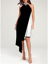 cheap -Women's Asymmetrical Black Dress Casual Summer Party Daily Loose Color Block Halter Neck M L Loose