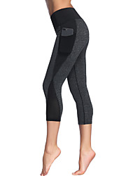 cheap -Women's High Waist Yoga Pants Side Pockets Patchwork Capri Leggings Butt Lift 4 Way Stretch Breathable Black Gray Mesh Gym Workout Running Fitness Sports Activewear High Elasticity Slim / Quick Dry