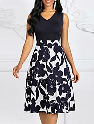 cheap -Women's Plus Size A Line Dress - Sleeveless Floral Print Spring Summer Vintage Going out Navy Blue S M L XL XXL XXXL XXXXL XXXXXL / Cotton