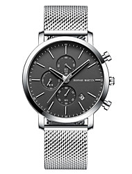 cheap -Men's Dress Watch Quartz Stainless Steel 30 m Calendar / date / day Chronograph Day Date Analog Fashion Cool - Black / Silver White+Silver Black One Year Battery Life