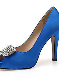 cheap -Women's Heels 2020 Stiletto Heel Peep Toe Rhinestone Satin Classic / Minimalism Summer / Fall Blue / White / Black / Wedding / Party & Evening
