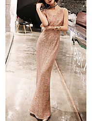 cheap -Mermaid / Trumpet Sparkle Gold Engagement Prom Dress V Neck Sleeveless Floor Length Polyester with Sequin 2020