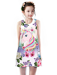 cheap -Kids Girls' Basic Cute Unicorn Floral Animal Cartoon Print Sleeveless Knee-length Dress Blushing Pink