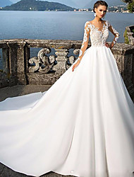 cheap -A-Line Wedding Dresses Jewel Neck Court Train Satin Long Sleeve Sexy Wedding Dress in Color with Appliques 2020
