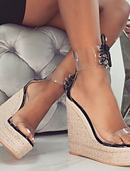 cheap -Women's Sandals Wedge Heel Open Toe PVC Summer Black / Beige
