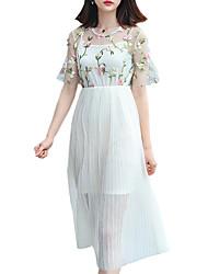 cheap -Women's White Dress Casual Daily A Line Polka Dot Basic S M