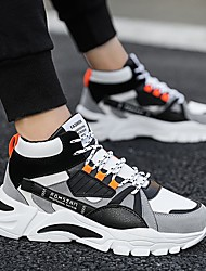 cheap -Men's Faux Leather Fall & Winter Sporty Trainers / Athletic Shoes Walking Shoes Height-increasing Color Block Green / Black / Gray