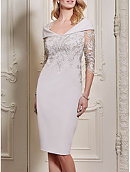 cheap -Sheath / Column Mother of the Bride Dress Elegant Plus Size See Through Queen Anne Knee Length Polyester Half Sleeve with Sequin 2020