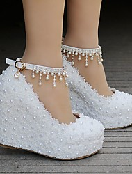 cheap -Women's Wedding Shoes Wedge Heel Round Toe Sweet Preppy Wedding Party & Evening Lace PU Sparkling Glitter Buckle Tassel Floral Solid Colored White Pink