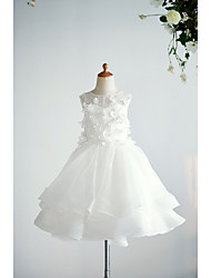 cheap -Ball Gown Knee Length Wedding / Birthday Flower Girl Dresses - Organza / Tulle Sleeveless Jewel Neck with Appliques