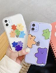 Недорогие -для apple iphone 11 11pro 11promax 8p x xs xsmax xr 7 8 простой цвет медведь рисунок давление воздуха оболочки против падения высокопрозрачный материал тпу чехол для мобильного телефона