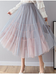 cheap -Women's Swing Skirts - Color Block Blushing Pink Blue Black One-Size