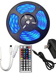 Недорогие -5м гибкие светодиодные полосы RGB TIKTOCK огни / пульты дистанционного управления 150 светодиодов SMD5050 10 мм 1 пульт дистанционного управления 44 ключей / 1 х 2A адаптер питания 1