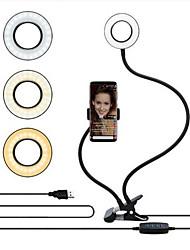 Недорогие -1 шт. Селфи кольцо света tiktok light youtube видео с подставкой для мобильного телефона подставка двойной шланг заливки свет кронштейн ленивый кронштейн лампа чтения usb зарядка