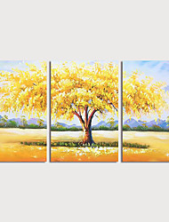 cheap -Hand Painted Canvas Oilpainting Abstract Landscape set of 3 by Knife Home Decoration with Frame Painting Ready to Hang With Stretched Frame