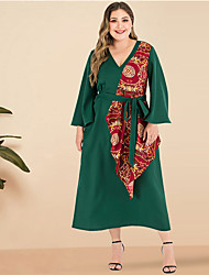 cheap -Women's Plus Size Maxi A Line Dress - Long Sleeve Solid Color Patchwork V Neck Daily Going out Flare Cuff Sleeve Green XL XXL XXXL XXXXL