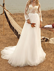 cheap -A-Line Wedding Dresses Jewel Neck Sweep / Brush Train Tulle Long Sleeve Country Plus Size with Appliques 2020