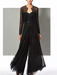 cheap -Pantsuit / Jumpsuit Mother of the Bride Dress Elegant Sweetheart Neckline Floor Length Chiffon Lace Long Sleeve with Lace Appliques 2021