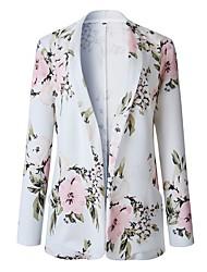 cheap -Women's Daily Regular Coat, Plants Shawl Lapel Long Sleeve Polyester White