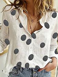 cheap -Women's Polka Dot Blouse Daily Shirt Collar White