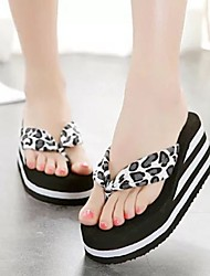 cheap -Women's Slippers & Flip-Flops Flip-Flops Outdoor Slippers Wedge Heel Open Toe Daily Canvas Summer White Black Brown