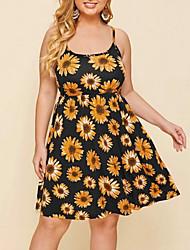 cheap -Women's Knee Length Dress Strap Dress - Sleeveless Floral Summer Sexy 2020 Yellow XXXL XXXXL XXXXXL