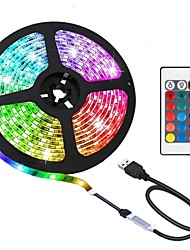 cheap -2 meter LED Light Strips Flexible Tiktok Lights TV backlight 60LED 10mm epoxy waterproof multi-color USB TV backlight with infrared controller 24Keys remote Halloween TV computer background li