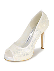 cheap -Women's Wedding Shoes Stiletto Heel Peep Toe Sweet Wedding Party & Evening Lace Floral Summer White Black Red