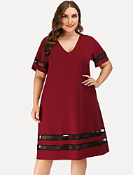 cheap -Women's A Line Dress - Short Sleeves Striped Solid Color Mesh Patchwork Summer Casual Street chic Daily Going out 2020 Red L XL XXL XXXL XXXXL